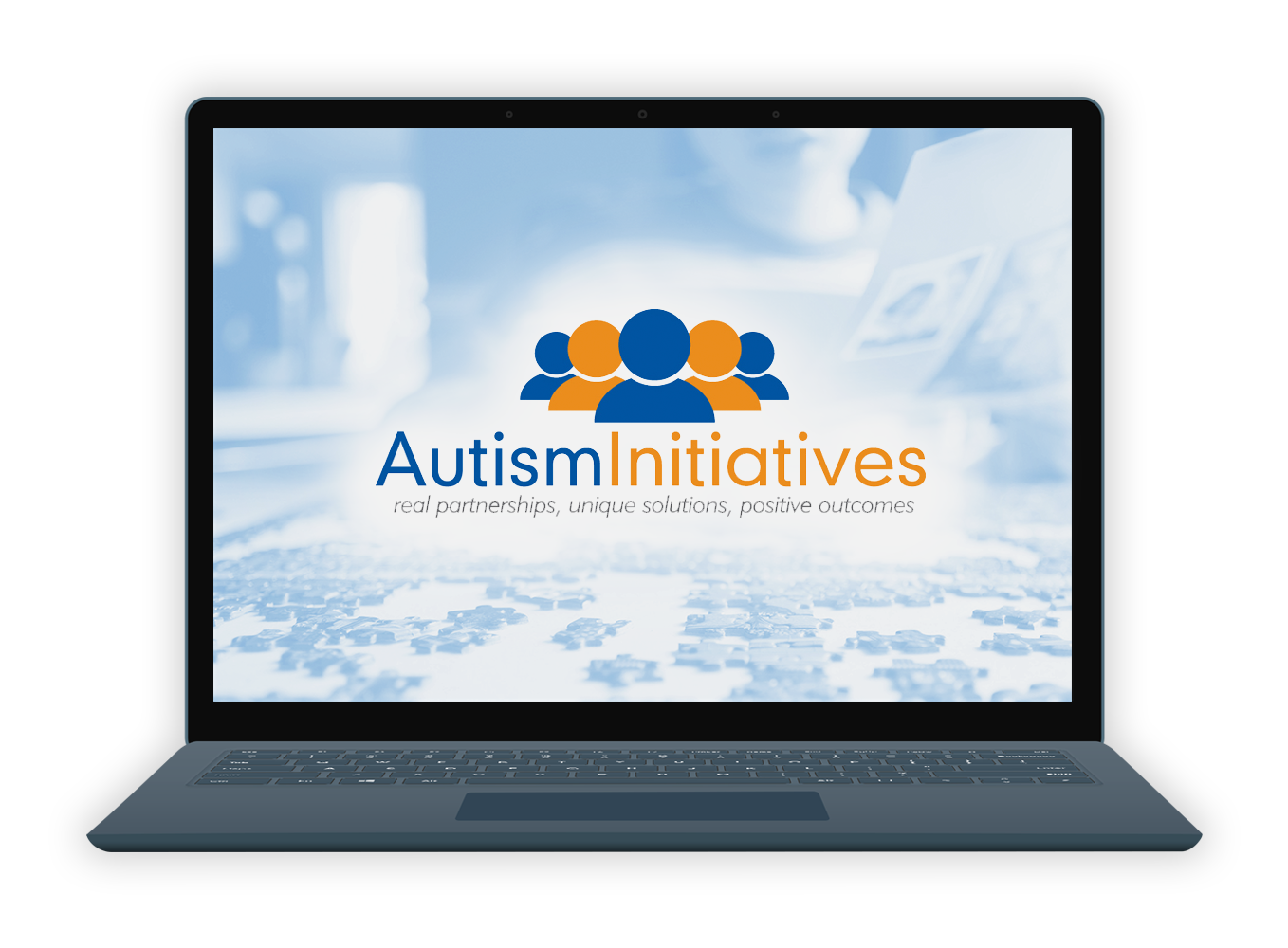 EiB Autism Initiatives Page - Laptop with Autism Initiatives logo