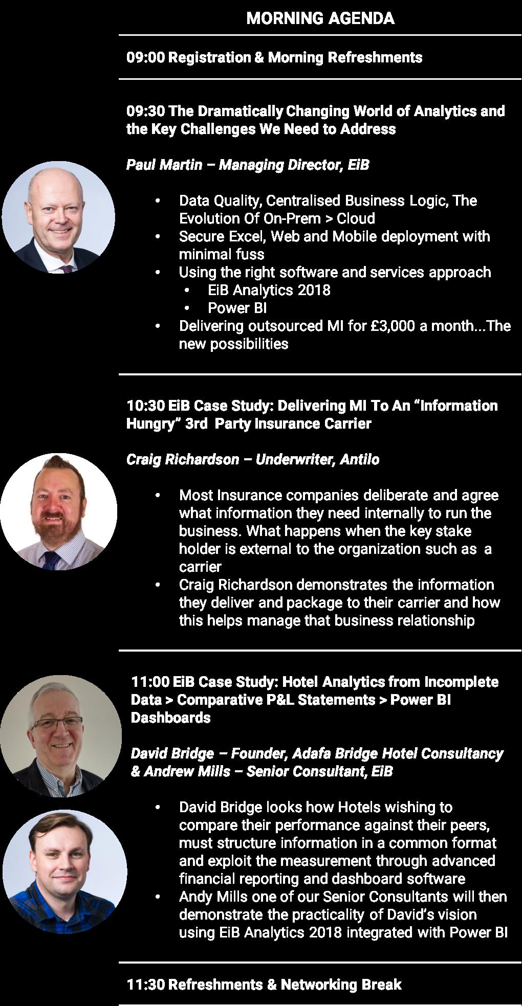 EiB Analytics 2018 Conference - Wednesday 25th April - Morning Agenda